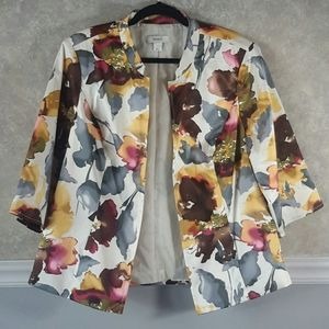 CJ BANKS | Floral Watercolor Blazer Jacket Size 1X